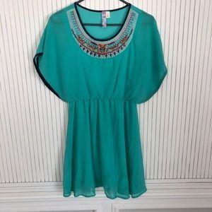 Turquoise tribal print mini summer dress